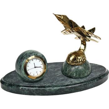 """Настольные часы """"Истребитель"""" из бронзы и змеевика (высота 13 см)"""