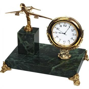 """Настольные часы """"Самолёт"""" из бронзы и змеевика (высота 12 см)"""