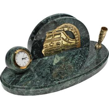 """Письменный прибор с часами """"Железнодорожный"""" из бронзы и змеевика (высота 9 см)"""