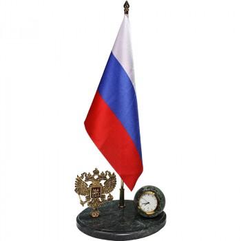 """Настольные часы """"Российская Федерация"""" из бронзы и змеевика (33,5 см)"""