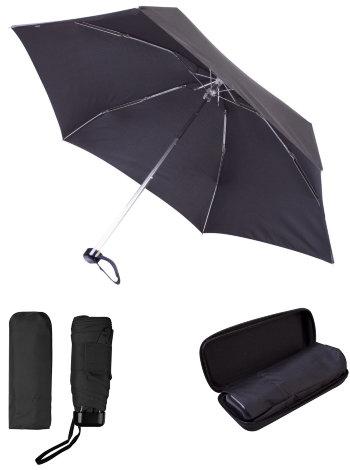 Чёрный мини-зонт в футляре (5 сложений)