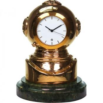 """Настольные часы """"Водолаз"""" из бронзы и змеевика (10 см)"""