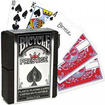 """Пластиковые игральные карты """"Bicycle Prestige"""" в подарочном кейсе (USPCC, 54 карты)"""