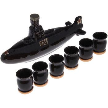 """Штоф """"Подводная лодка"""" с шестью рюмками (500 мл)"""