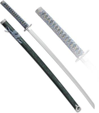 Самурайский меч-катана с ножнами под зелёный мрамор (102 см, подставка в подарок)